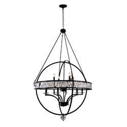 """69"""" 12 Light  Chandelier with Black finish"""