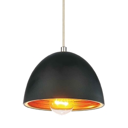 """7"""" 1 Light Down Mini Pendant with Black finish"""