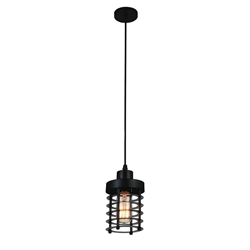 "7"" 1 Light Down Mini Pendant with Black finish"