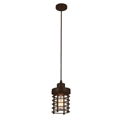 "7"" 1 Light Down Mini Pendant with Chocolate finish"