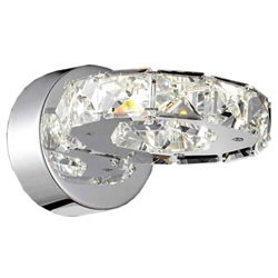 "7"" Anelli Modern Crystal Round Wall Sconce Polished Chrome 6LED Lights"