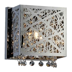 """7"""" Web Modern Laser Cut Crystal Square (S) Wall Sconce Stainless Steel 1 Light"""