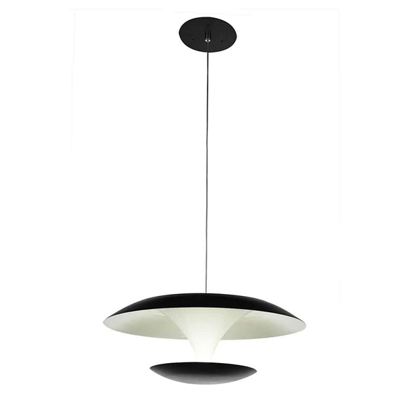 "Picture of 8"" LED Down Mini Pendant with Black & White finish"