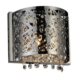 """8"""" Web Modern Laser Cut Crystal Square (R) Wall Sconce Stainless Steel 1 Light"""
