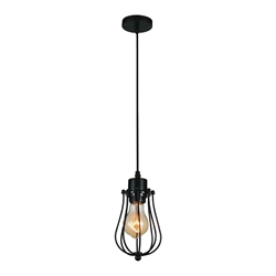 "9"" 1 Light Down Mini Pendant with Black finish"