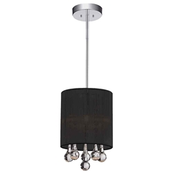 "9"" 1 Light Drum Shade Mini Pendant with Chrome finish"