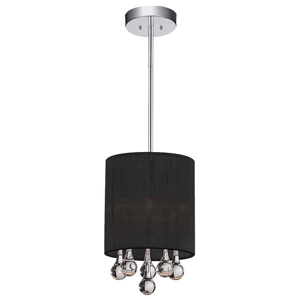 "Picture of 9"" 1 Light Drum Shade Mini Pendant with Chrome finish"