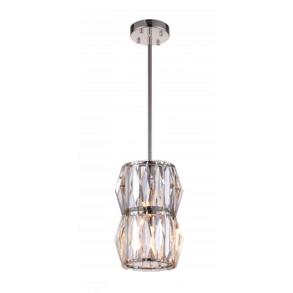 """Picture of 9"""" 2 Light Down Mini Chandelier with Bright Nickel finish"""
