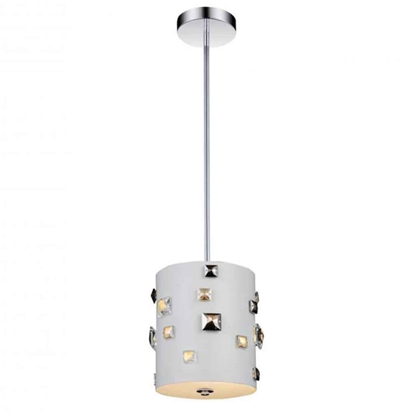 "Picture of 9"" 2 Light Drum Shade Mini Pendant with White finish"